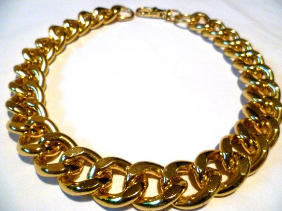 Ultra bold Chunky Gold Necklace Chunky jewelry by tarocollection