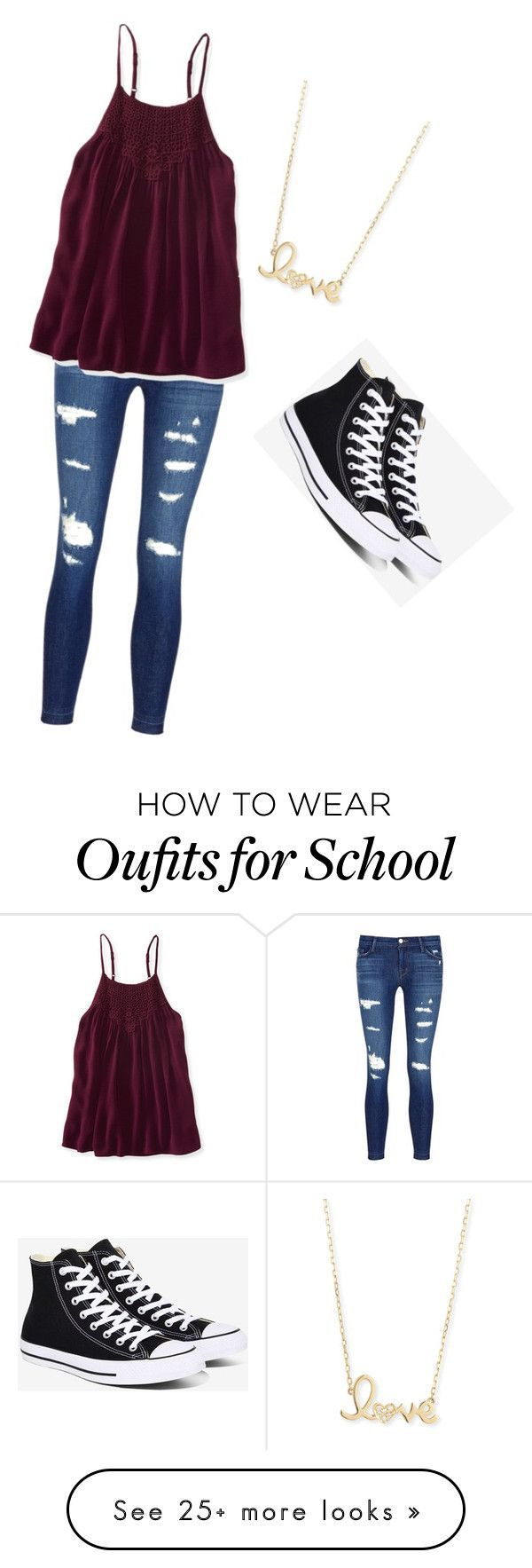 """Back to school"" by logan-cooper on Polyvore featuring J Brand, Aéropostale, Converse and Sydney Evan"