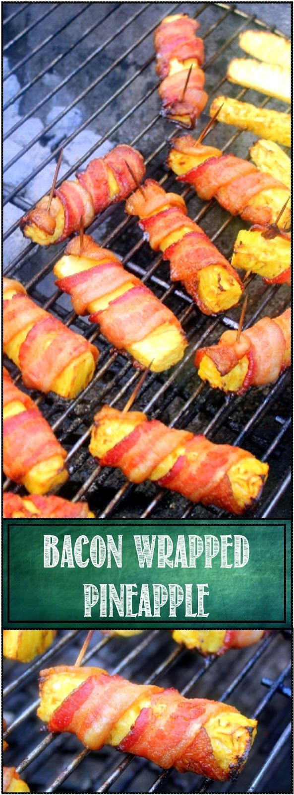 Bacon Wrapped Pineapple Baked in an Oven or Grilled ... These ARE  ABOUT AS GOOD AS IT GETS.  A wonderful party appetizer, really sets a tone for an outdoor event (tailgating anyone?).  Roll these out and you know something fun is going to happen.  The pineapple comes out warm and incredibly juicy and of course... BACON!  Tips for grilling or to bake in your oven.  ENJOY!