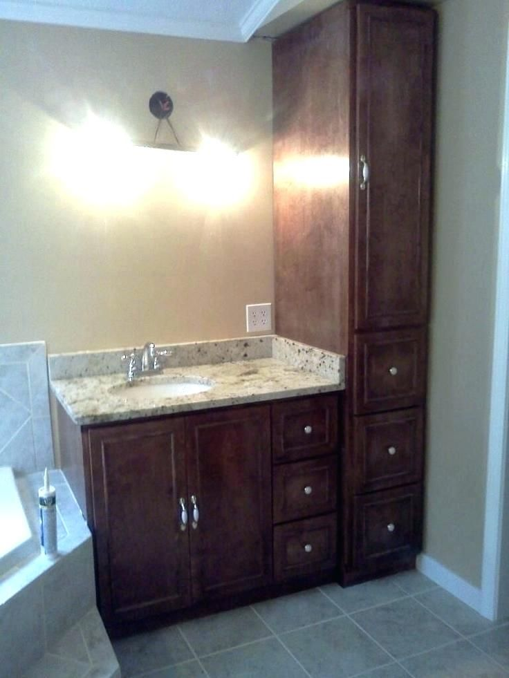 Image Result For Bathroom Vanity With Tall Cabinet Beautiful Bathroom Vanity Small Bathroom Vanities Bathroom Linen Cabinet