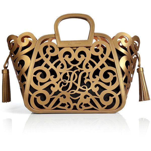 RALPH LAUREN COLLECTION Leather Scroll Tote (£1,137) ❤ liked on Polyvore featuring bags, handbags, tote bags, purses, borse, bolsas, leather man bags, brown leather purse, brown leather tote bag and brown leather tote