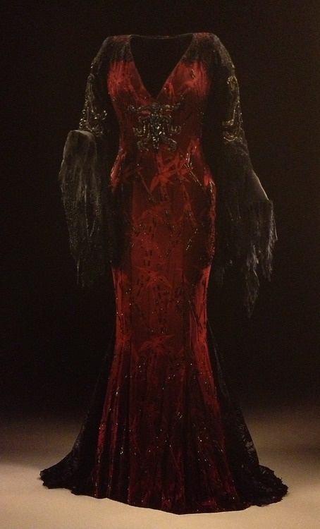 Morticia Addams (Anjelica Huston) wearing this dark red dress with black lace frayed hems and beaded embroidery in Addams Family Values