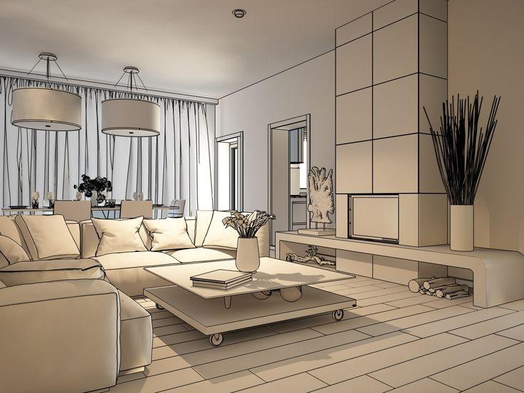 Наброски гостиной комнаты, двух этажного дома площадью 140 метров. Скоро этот интерьер мы оживим, он заиграет цветами и красками и будет вообще шикарным.  #дизайн #интерьер #дизайн_интерьера #дизайнер #lesh #гостиная #эскиз #набросок #камин