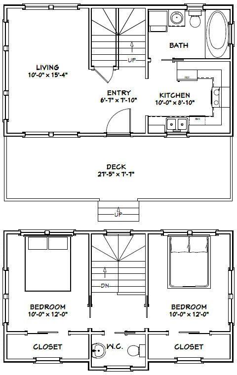 28x16 Tiny House 28x16h1 821 Sq Ft Excellent Floor Plans