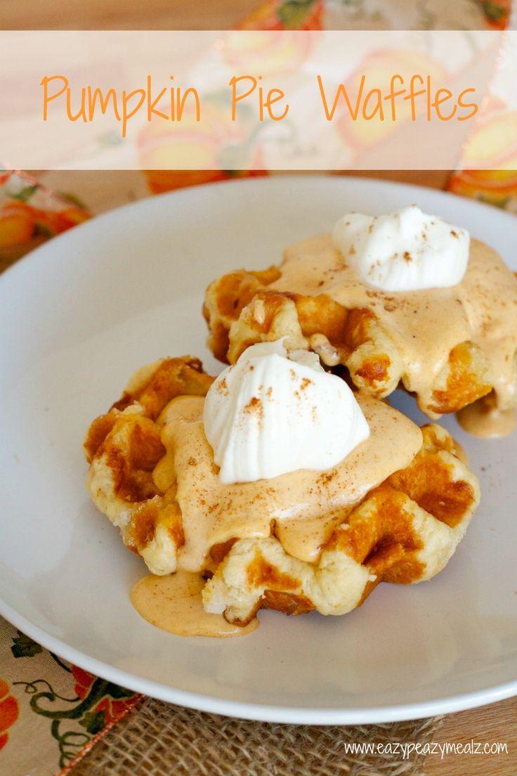 Pumpkin Pie Waffles- Pumpkin waffles with a pumpkin pie whipped cream topping