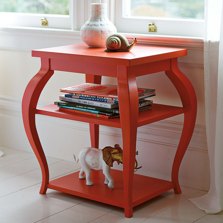 Find a cheap thrift shop side table. Paint it a cute cheery color. Top with trinkets.