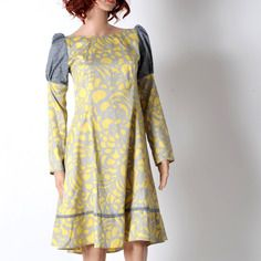 Robe jaune et grise en cotons vintage imprimés, longueur genoux, taille 36