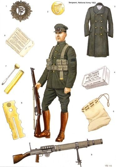 Uniform and gear of enlisted soldiers of the Irish Free State National Army.