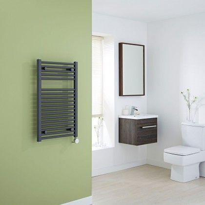 Milano Brook Electric Anthracite Grey Flat Heated Towel Rail Radiator 800mm x 500mm In Green & White Bathroom