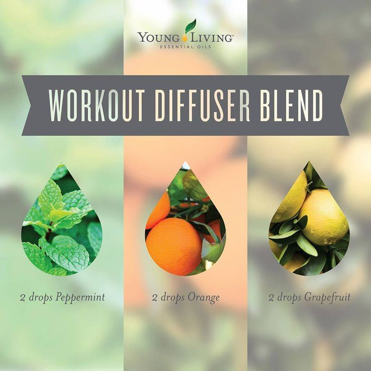 Workout Diffuser Blend: 2 drops peppermint essential oil + 2 drops orange essential oil + 2 drops grapefruit essential oil ~ Young Living Essential Oils ~ Click for more diffuser blends.