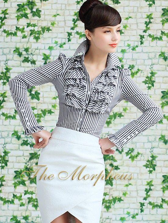 Morpheus Boutique - Black Stripe Designer Vintage Lady Ruffle Collar Sleeve Shirt
