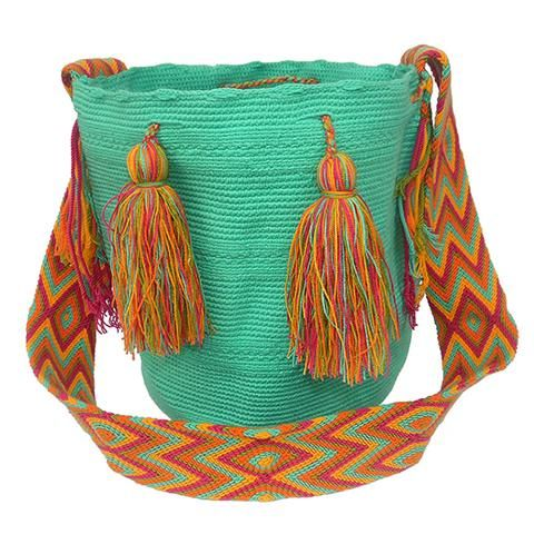 Verde Agua Marina The bags are 100% handmade, using various weaving techniques and sizes. The patterns, shading, and detail vary from bag to bag depending on the weaver. A bag can take an experienced weaver up to a number of weeks  to complete while also tending to her family and duties as a mother. Each bag has a unique identifier code. All our Mochila Bags are carefully made from fine thread.