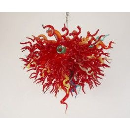 Beautiful pure red chandelier with led bulbs Art glass lighing with a unique twist.  Chandeliers that will light up your life. Hand blown in colorful with unique teardrop and twisted stems.