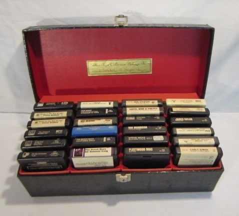 24 8 TRACK TAPES IN CASE CLASSIC ROCK  MOTOWN MORE  EWF STEVIE WONDER EAGLES