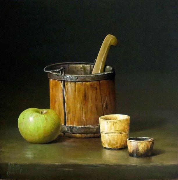 Ian Mastin Bucket and Bramley 14x14 Acrylics l Contemporary Scottish Art