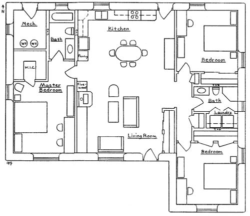 Earthbag building beachcomber house plan with hip for Earthbag house plans free