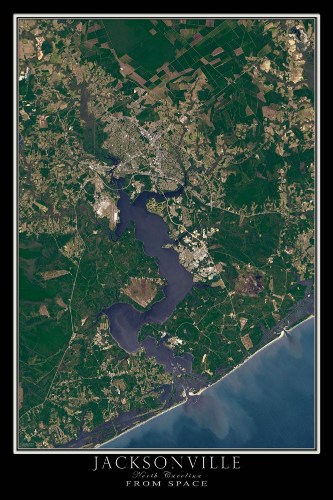 Jacksonville North Carolina Satellite Poster Map in 2019 ...