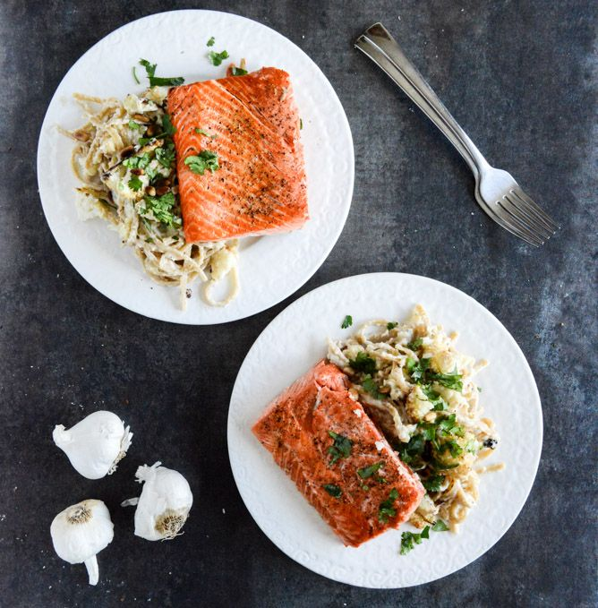 Broiled Salmon and Roasted Garlic Cream Noodles with Crispy Cauliflower + Toasted Pine Nuts I howsweeteats.com: Garlic Cream, Garlic Noodles, Toast Pine, Roasted Garlic, Pine Nut, Cream Sauces, Broil Salmon, Crispy Cauliflowers, Cream Noodles