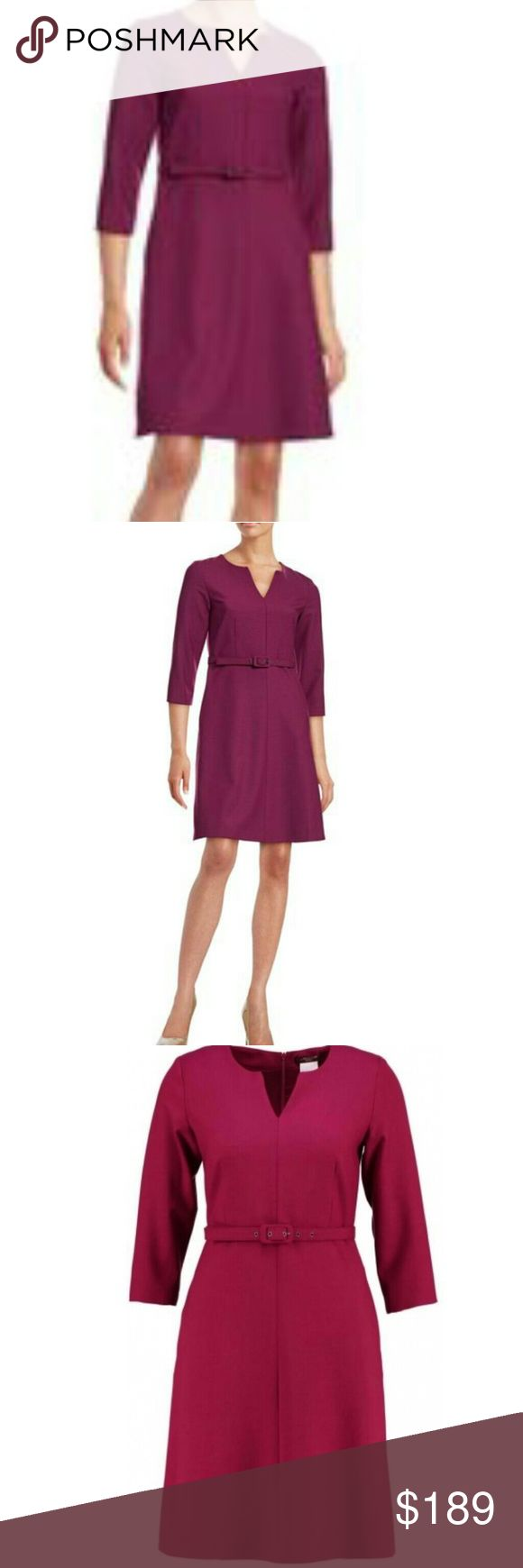 Weekend max mara wool blend dress 8 NWT.  Size 8 NO BELT, BUT IT DOESNT NEED IT....LOOKS GREAT WITHOUT IT! Great burgundy/purple violet.  Muted and conservative, while at the same time being a head turner.   Runs small!!!!  This dress is marked an 8, but fits a four. MaxMara Dresses Long Sleeve