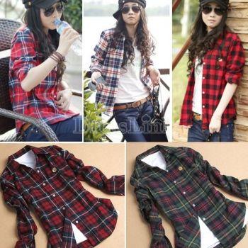 Femmes bouton coton revers occasionnels chemise Plaids contrôles flanelle chemise chemisier haut de la page