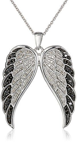 Sterling Silver Black and White Diamond Angel Wings Pendant Necklace (1/2 cttw), 18″ by Amazon Curated Collection http://blackdiamondgemstone.com/jewelry/necklaces/pendants/sterling-silver-black-and-white-diamond-angel-wings-pendant-necklace-12-cttw-18-com/