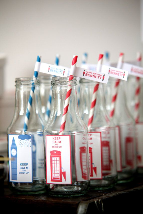 British party theme flags for straws by KerenPrecelEvents on Etsy, $7.00