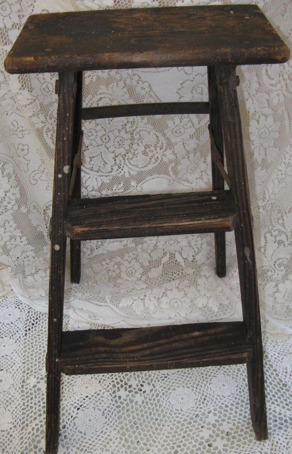 Rustic Wooden Step Ladder Oak Stool Dark Wood Paint