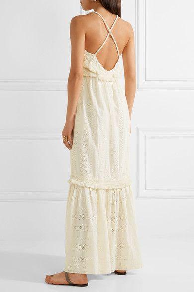 Rachel Zoe - Riley Fringed Broderie Anglaise Cotton Maxi Dress - Cream - US2