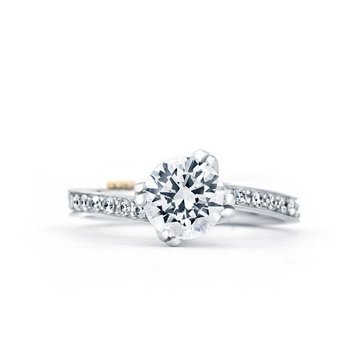 """Clarity"" diamond engagement ring with modern shifted prong design, available at Greenwich Jewelers"