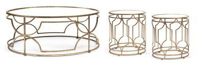 Elegant IK Sherine Mirror Top Coffee Table & 2 End Tables - Set of 3