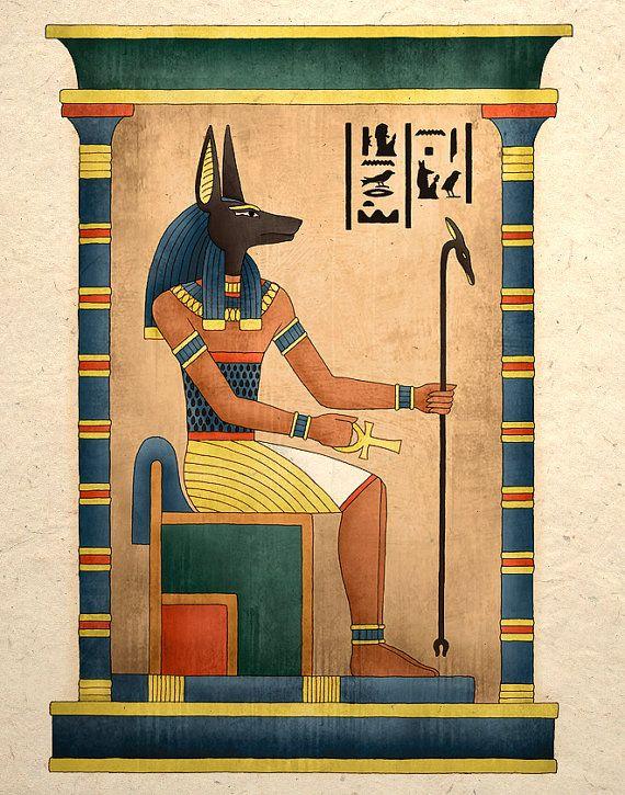 Impresión del arte egipcio antiguo Dios Anubis