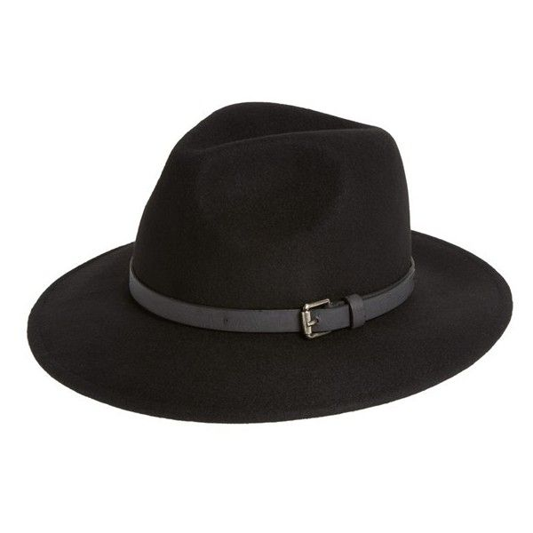 Sole Society Wool Panama Hat (410 HRK) ❤ liked on Polyvore featuring accessories, hats, black cowboy hat, sole society, wool cowboy hat, cowboy hat and bohemian hat