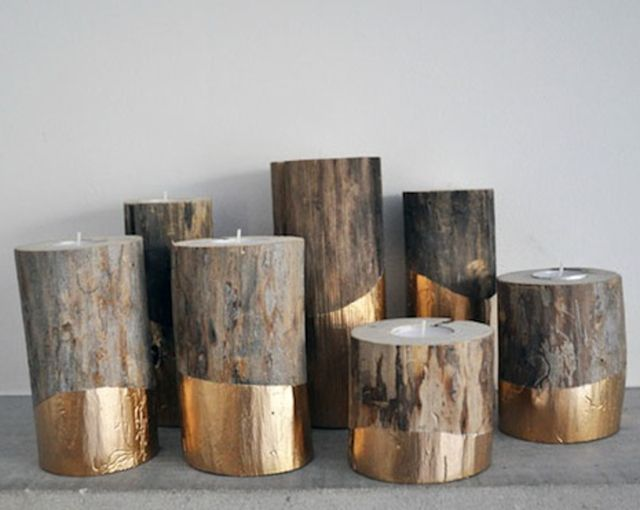 What a fabulous idea for fall! Gold-Dipped Log Candle Holder