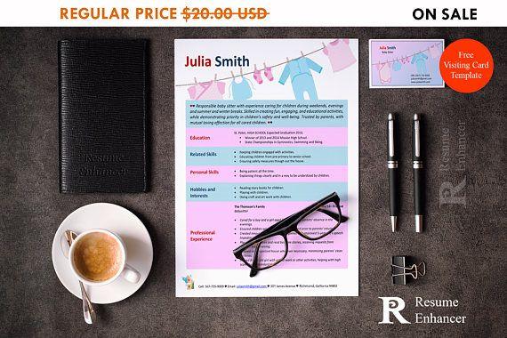 80% OFF SALE Babysitter Resume Template  Resume Design  CV