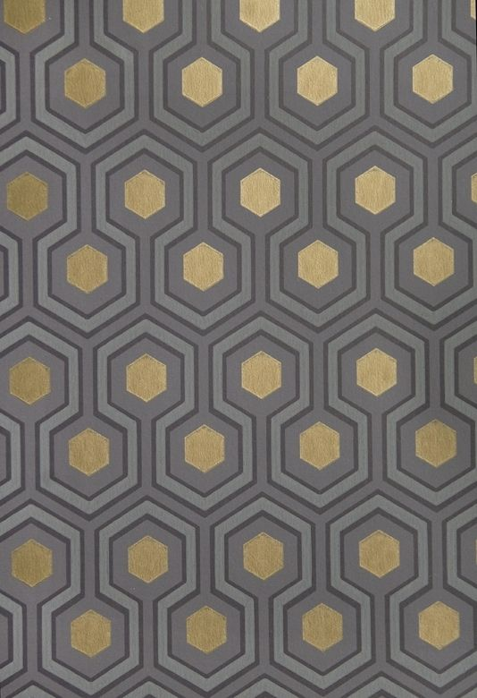 Hicks' Hexagon Wallpaper Small Geometric Design design wallpaper in Grey and Charcoal with metallic gold embellishment. Good for the hall