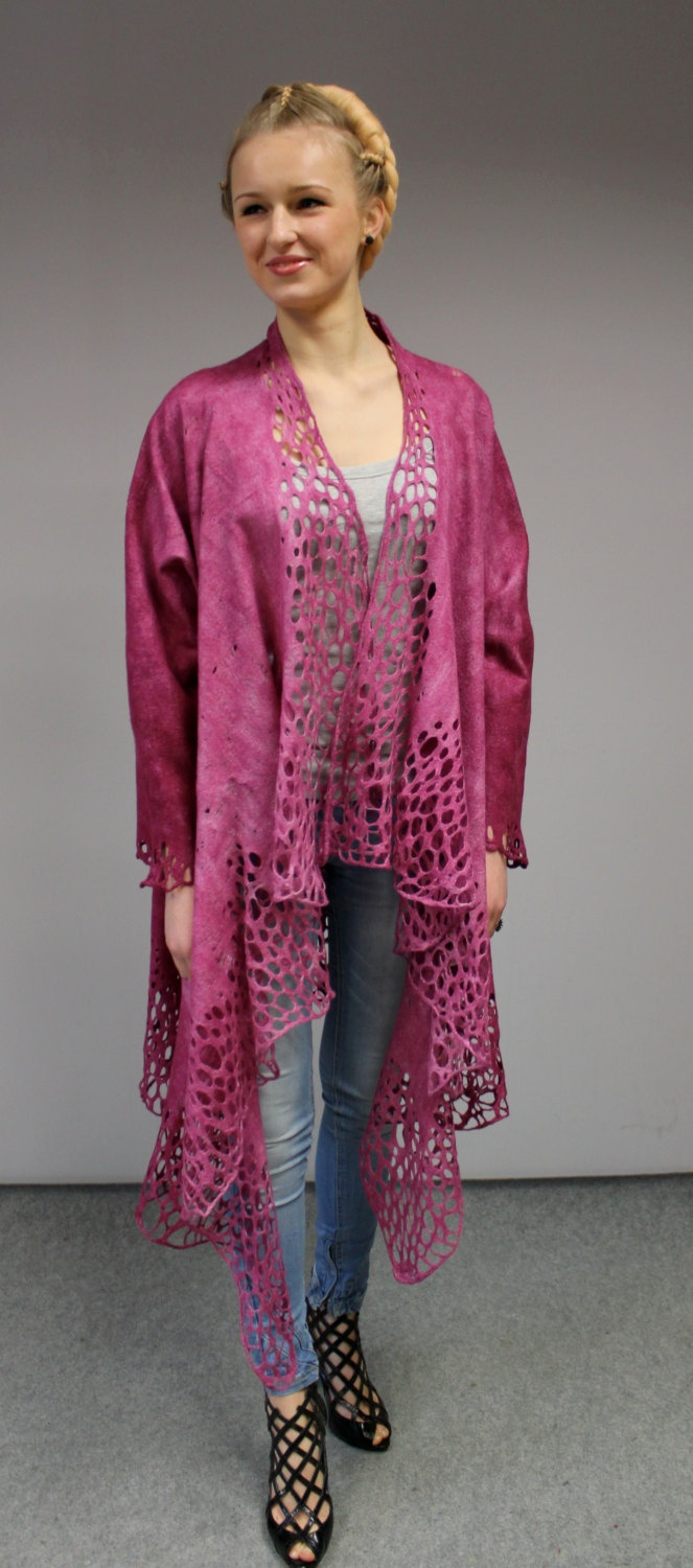 "Felted jacket 'Alar' - ""Blossom "". €149.00, via Etsy."