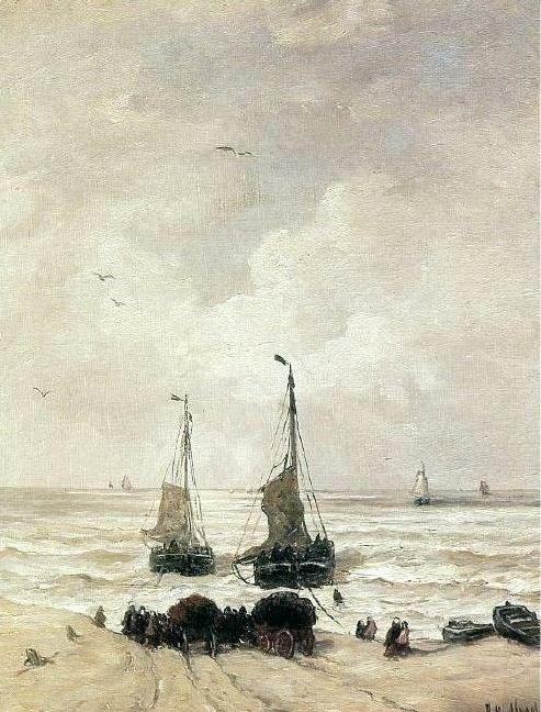 Hendrik Willem Mesdag (1831-1915) Vertrek van de vissersvloot en het laden van de netten.