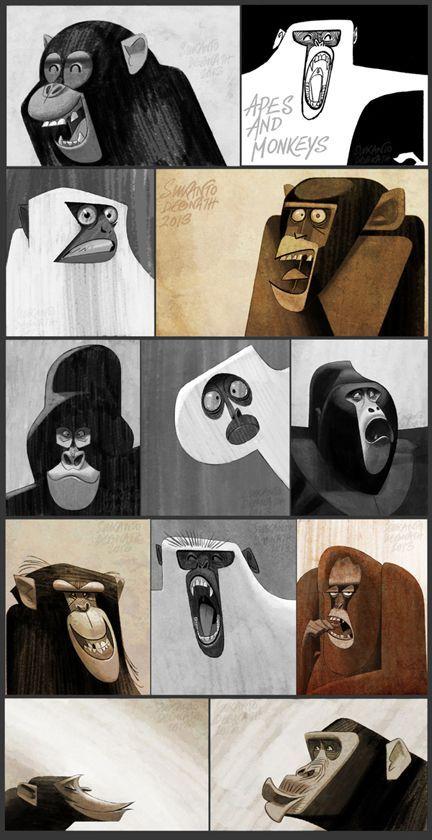 Apes and Monkeys by Sukanto Debnath, via Behance animal illustration graphic design inspiration
