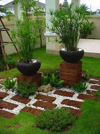 Ideas con ladrillos para el jardín 11