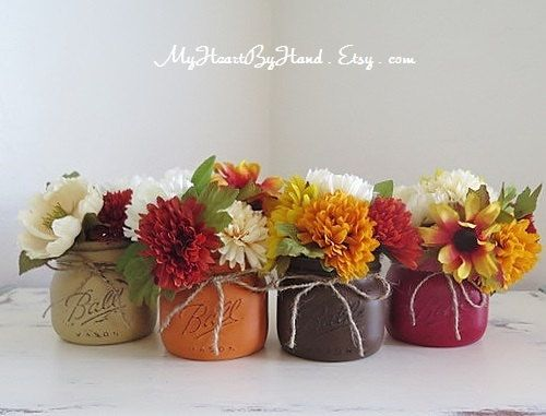 Fall Mason Jars, Fall Centerpieces, Autumn Home Decor, Distressed Mason Jars, Mason Jar Decor, Gift Jars, Thanksgiving Centerpieces