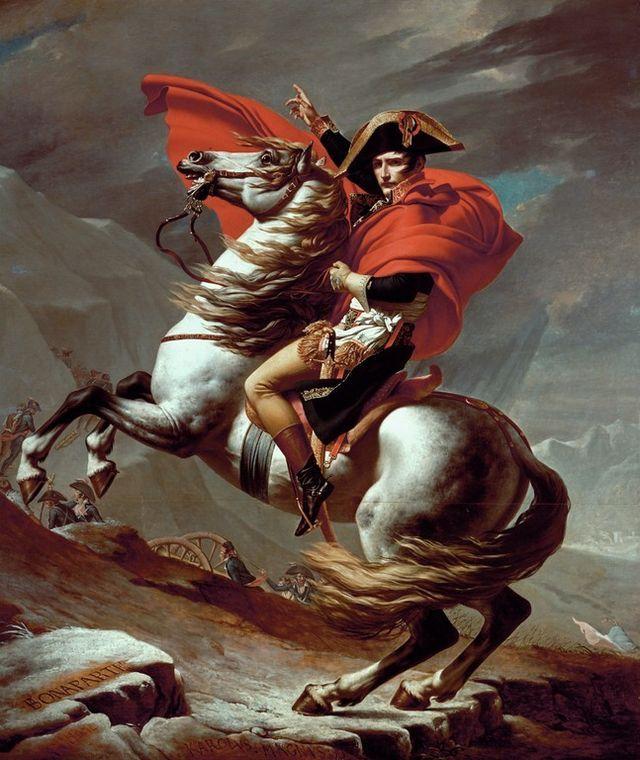 "* Napoleão Bonaparte *  ""Cruzando os Alpes"". (by Jacques-Louis David)."
