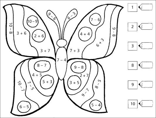Butterfly addition or subtraction color by number