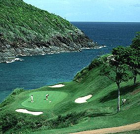 Mahogany Run Golf Course, St. Thomas, USVI, this hole is the 2nd hole in the Devil's Triangle