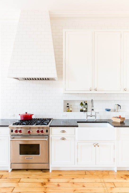 Love this recessed storage space above the counter top - perfect for small kitchens!