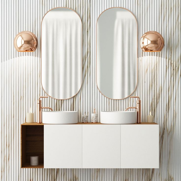 White Double-sink Vanity With Rose Gold Fixtures; SW 2019