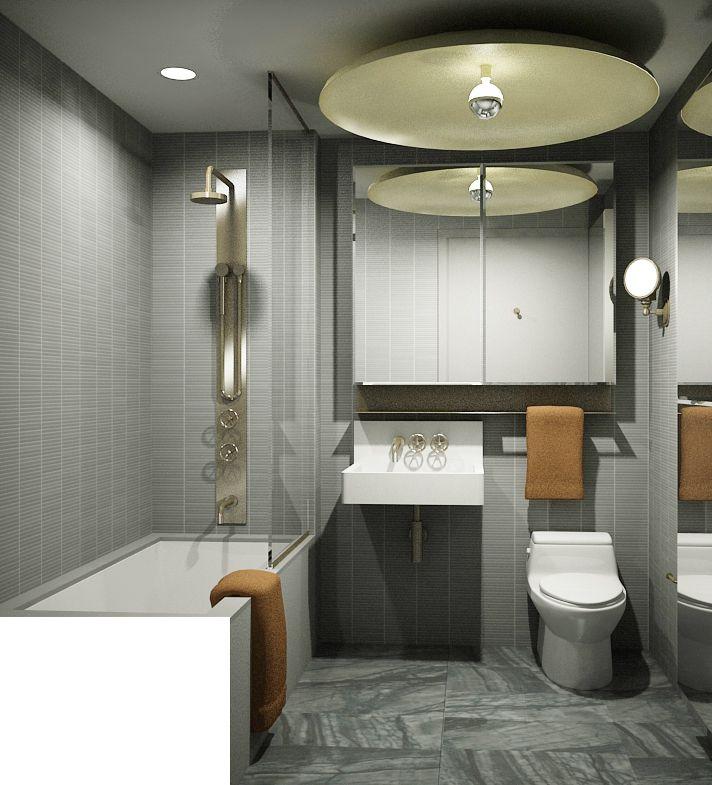 wall tile, stainless, shower, lighting, mirrors, toilet, sink, floors, tile, colors, cabinet, towel bar, full length mirror, tub, glass doors, med cabinet, lighting