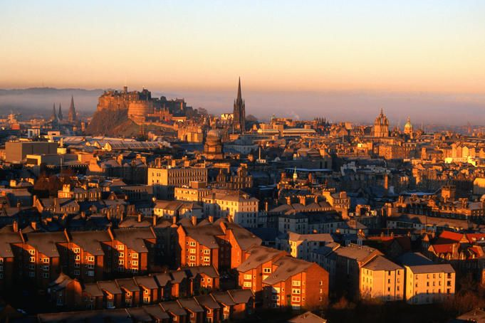 Edinburgh Castle and Old Town, Scotland: viewed from Arthur's Seat.