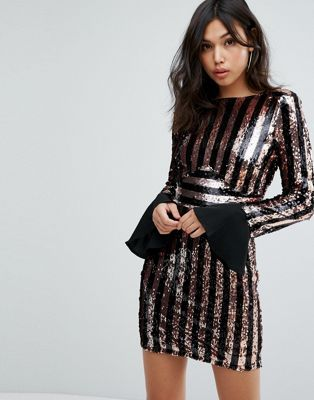 Boohoo Flared Cuff Striped Sequin Dress