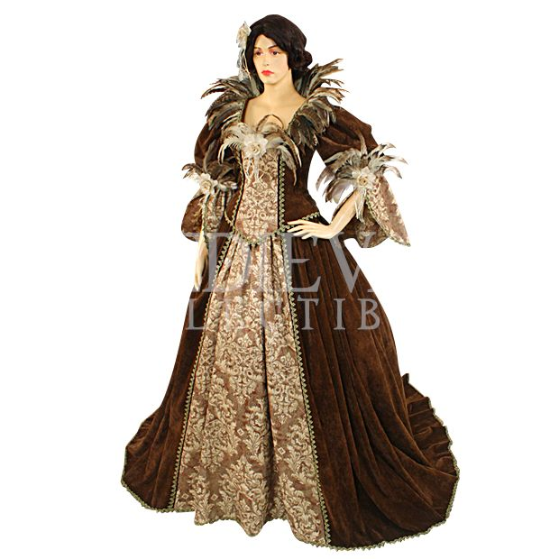 53 Best Images About Medieval Dress On Pinterest: Feathered Victorian Noble Dress With Train