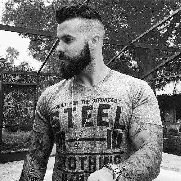 Medium Mens Undercut Shaved Sides With Beard